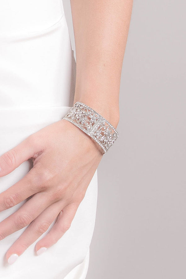 woman wearing silver crystal cuff bracelet