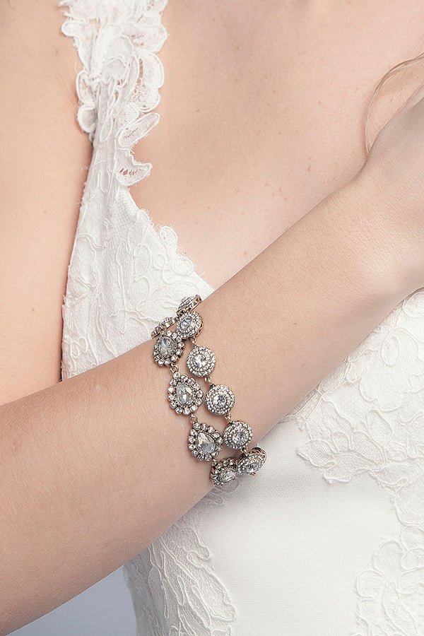Crystal Pear Halo Bracelet - Sample Sale