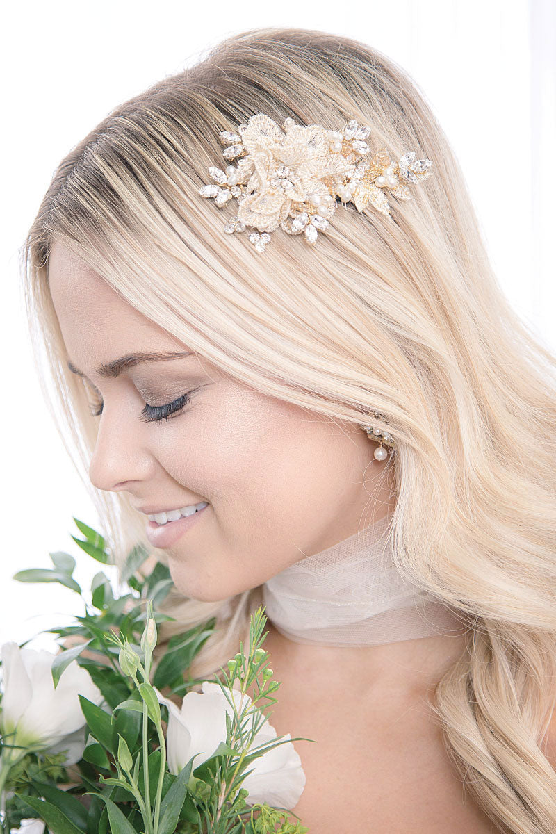 Celeste Tulle Flower Wedding Hair Comb