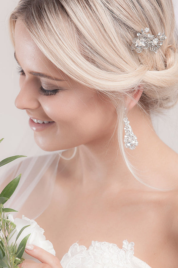 Wilde Filigree Crystal Pearl Bridal Comb - Sample Sale