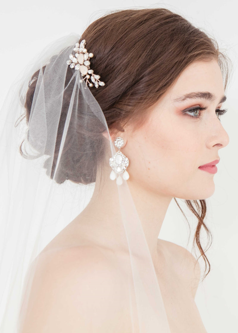 Rose gold crystal bridal hair piece. Handmade in Canada wedding accessory trend.