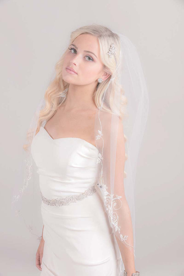 Constance Embroidered Fingertip Veil