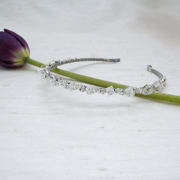 Sleek Crystal Spike Bridal Headband