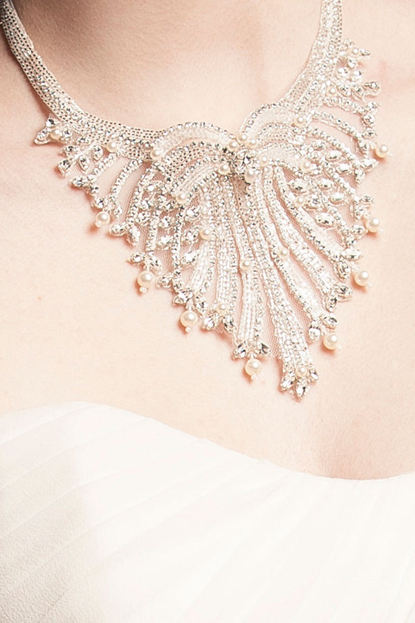 Beaded Pearl Drop Bib Necklace - Sample Sale