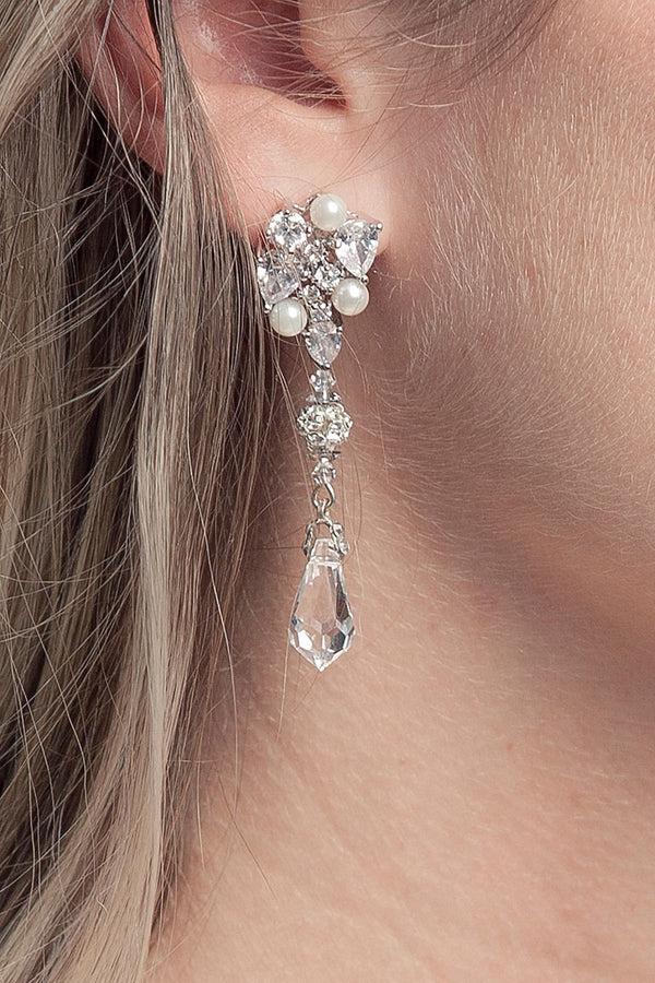 Pearl Crystal Linear Earrings - Sample Sale