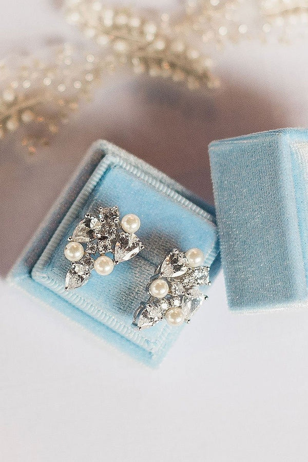 pearl crystal earrings in blue ring box