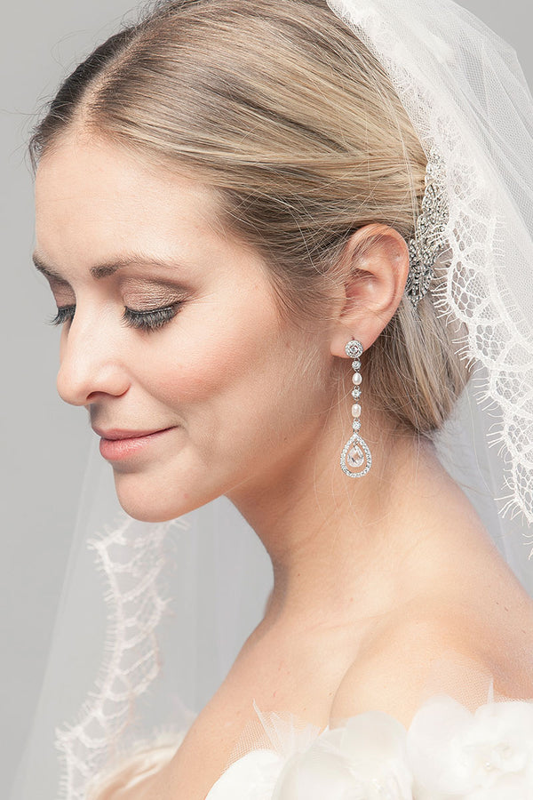 Pearl with Teardrop Wedding Earrings- Sample Sale