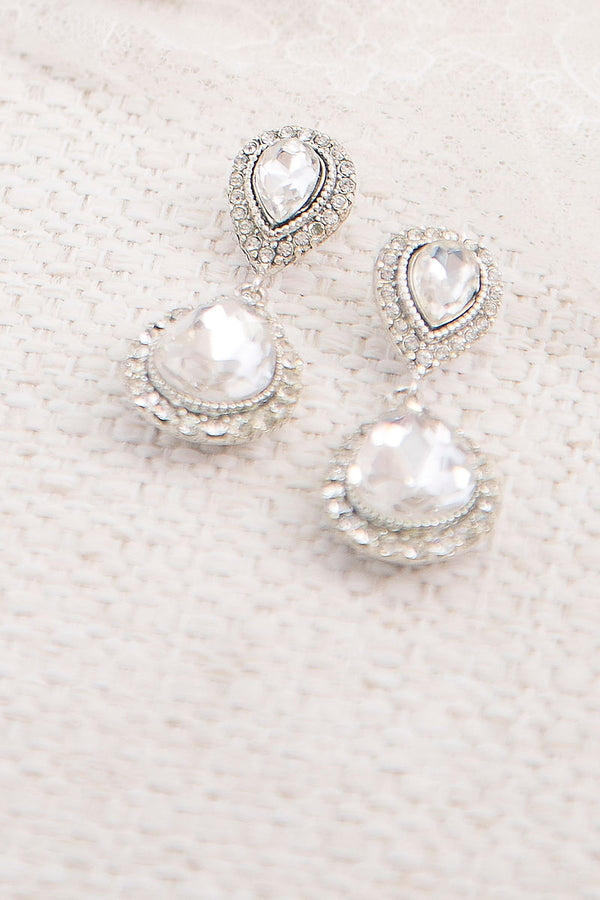Double Teardrop Crystal Halo Earrings - Sample Sale