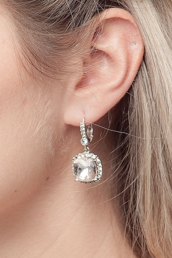 Crystal Cushion Cut Drop Bridal Earrings - Sample Sale