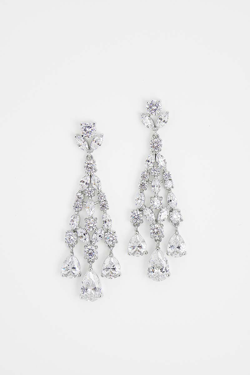 Pear Drop CZ Chandelier Earrings - Sample Sale