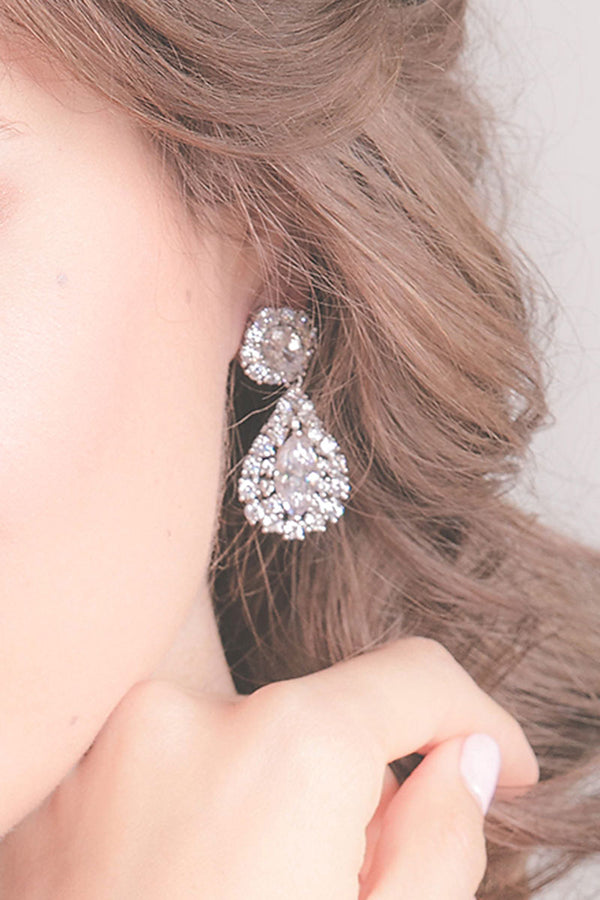 close up of crystal teardrop earring