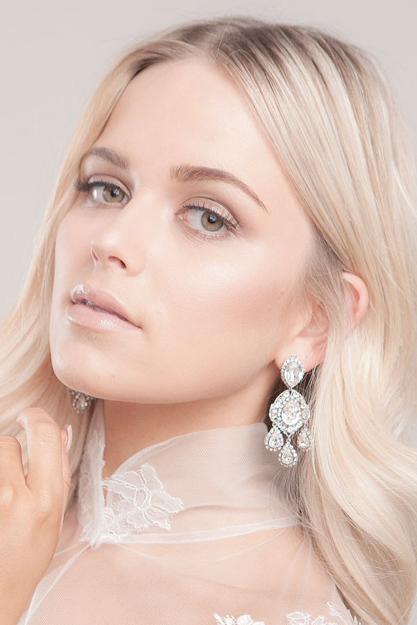 Crystal Chandelier Earrings On Model