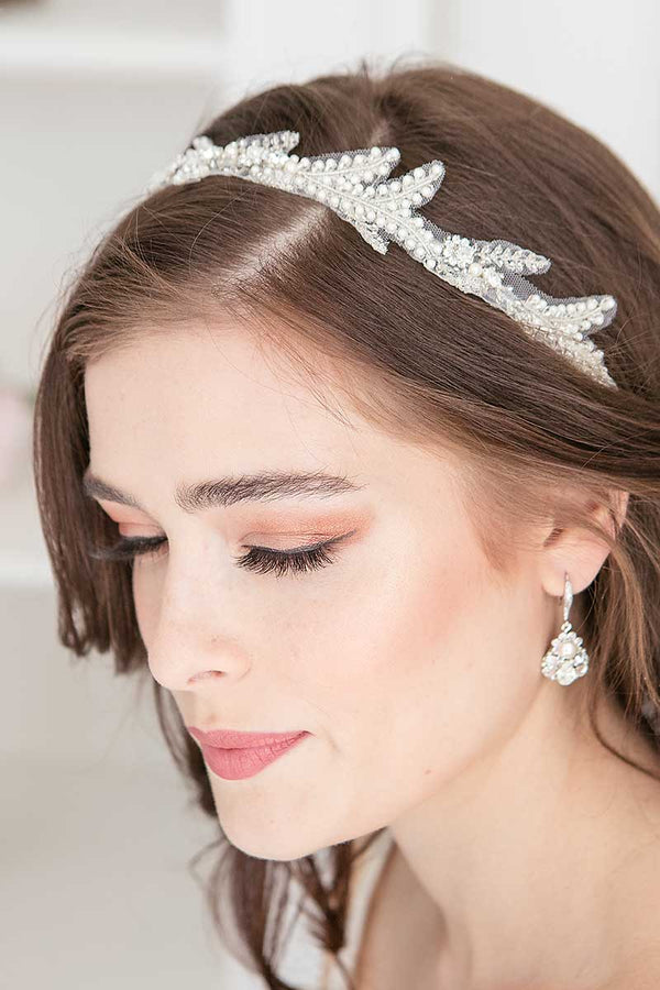 Ferra Tulle Bridal Headband With Ribbon