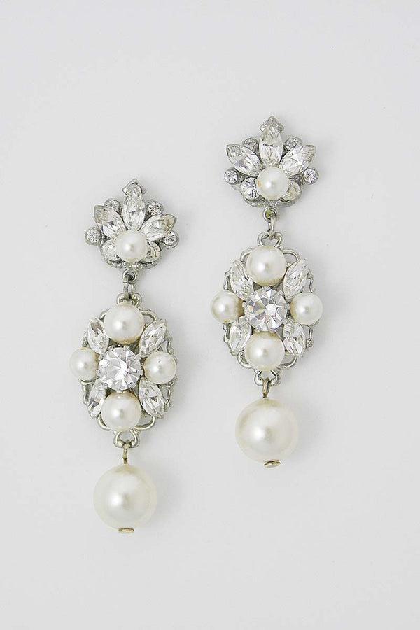 E5049 Crystal Filigree Pearl Drop Earrings