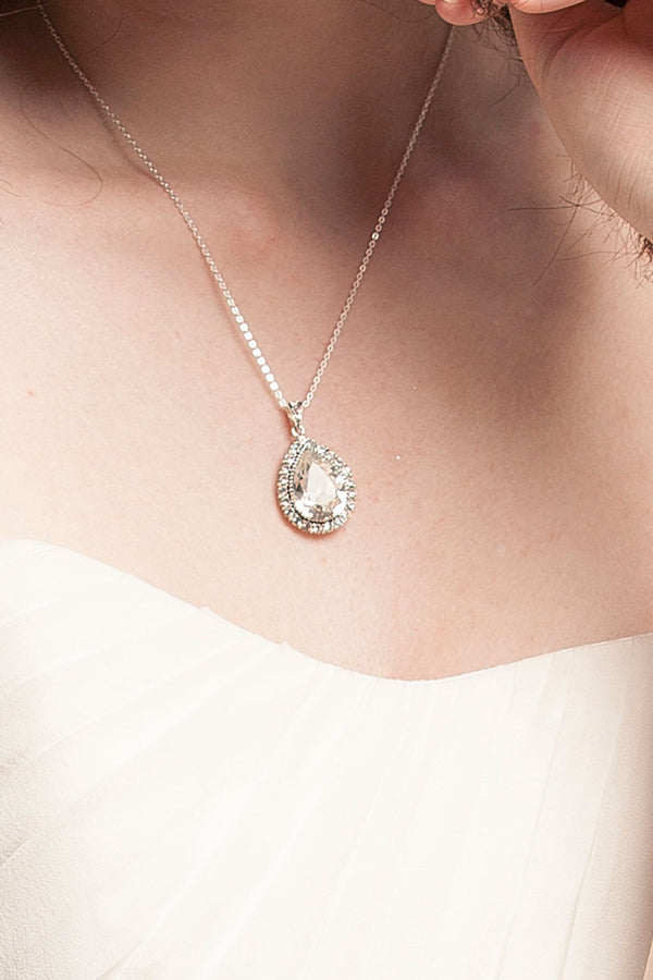 Teardrop Crystal Halo Pendant - Sample Sale