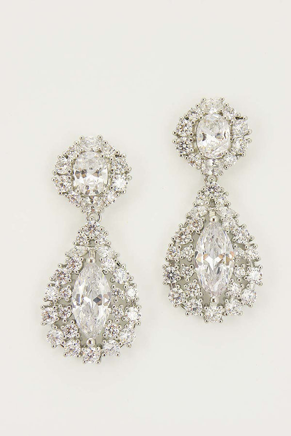 Halo Marquis Bridal Earrings - Sample Sale