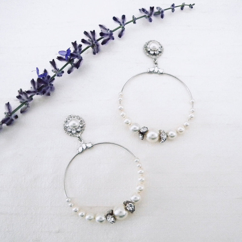Large Pearl Hoop Bridal Earrings