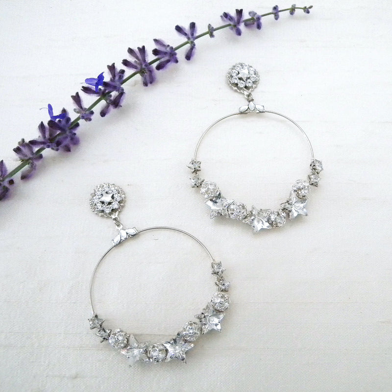 Large Hoop Earrings with Crystal Stars