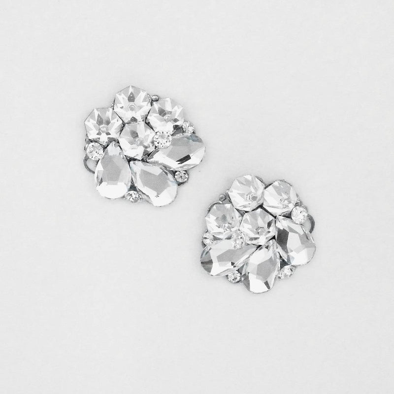 Bridal crystal and mirror back silver earrings