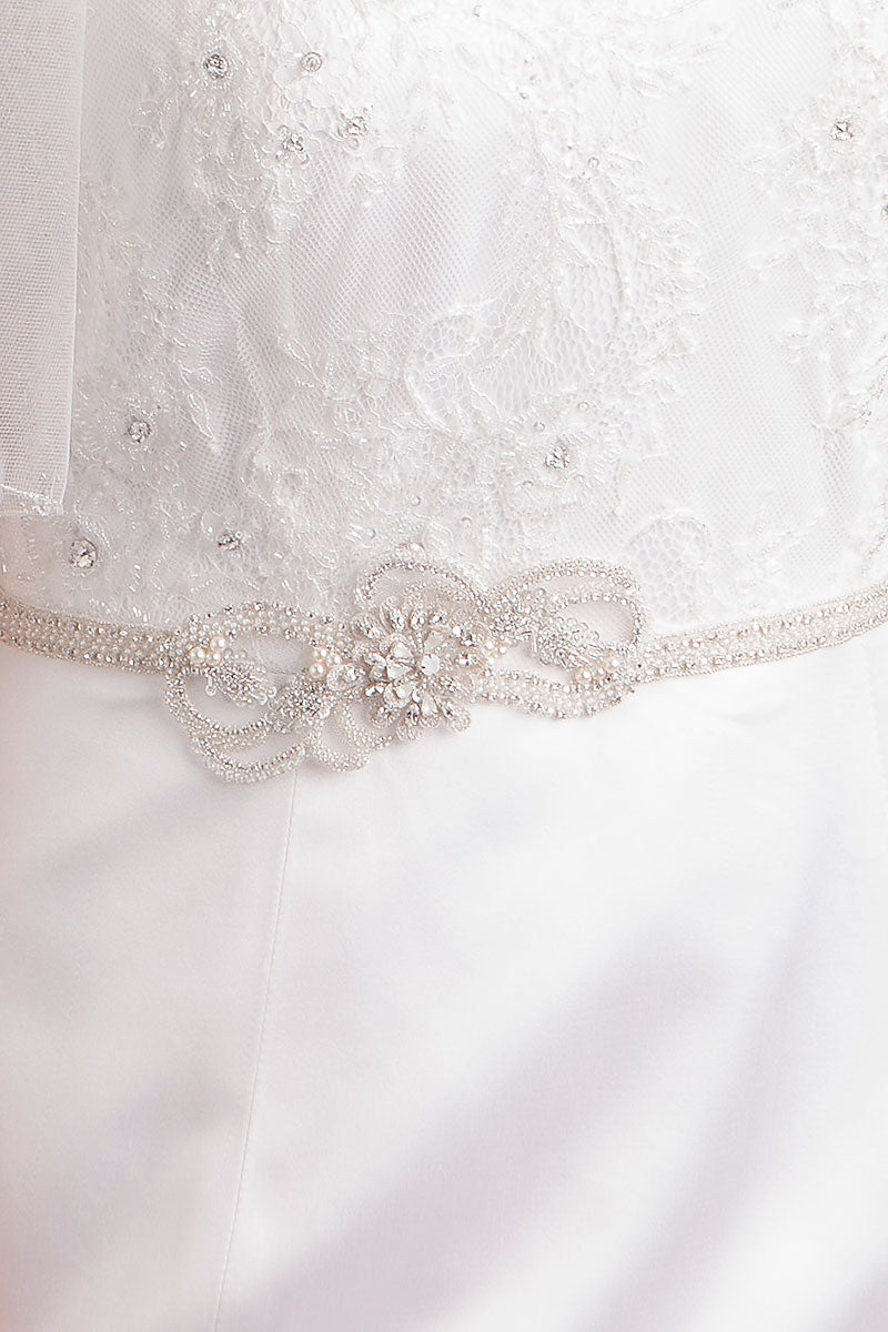 thin wedding dress belt on model