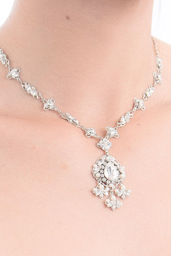 Filigree Pearl Statement Necklace- Sample Sale