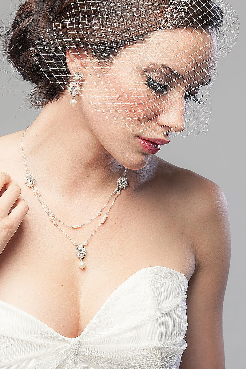 Pearl Drop Filigree Draped Necklace - Sample Sale