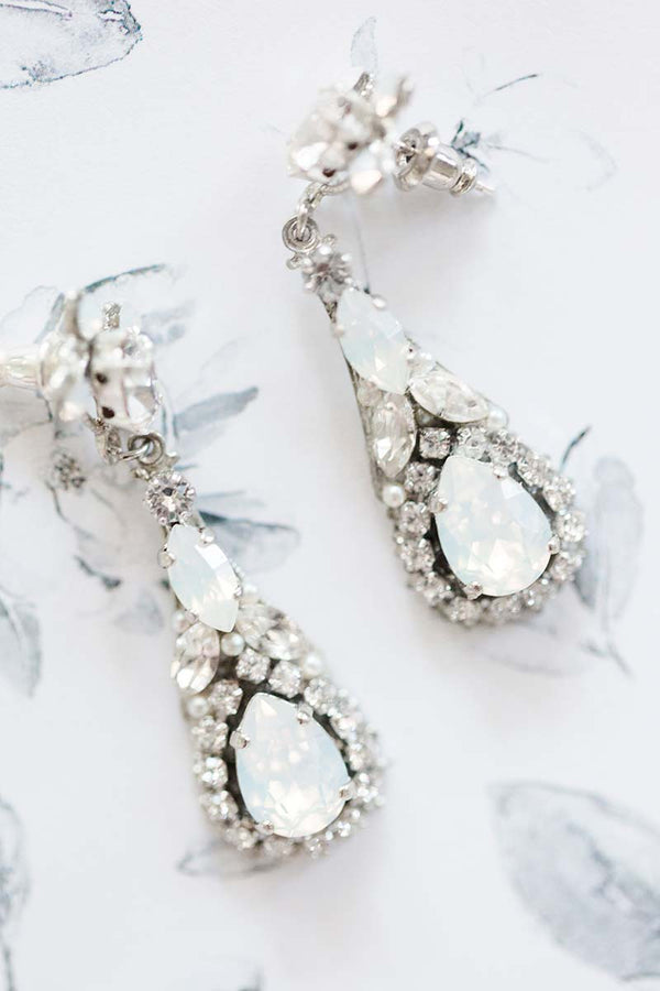 Opal Pear Crystal Drop Bridal Earrings