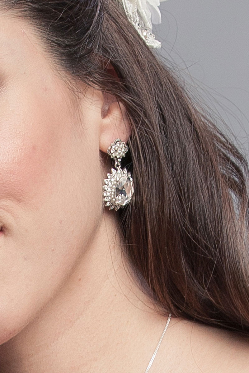 Vintage Crystal Pearl Oval Earrings- Sample Sale