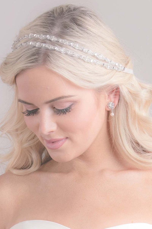 Rhea Double Baguette Ribbon Bridal Headpiece