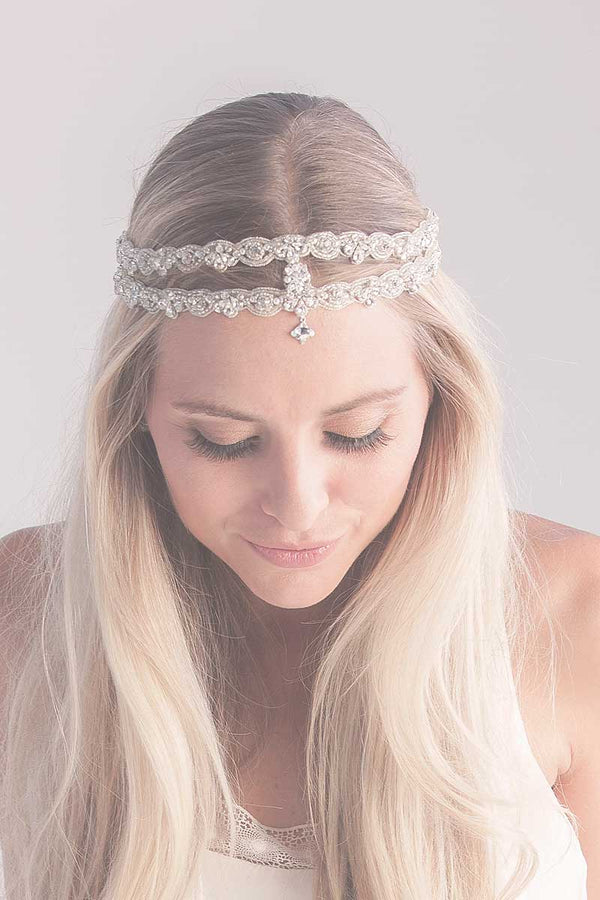 Elea Double Bridal Hair Ribbon - Sample Sale