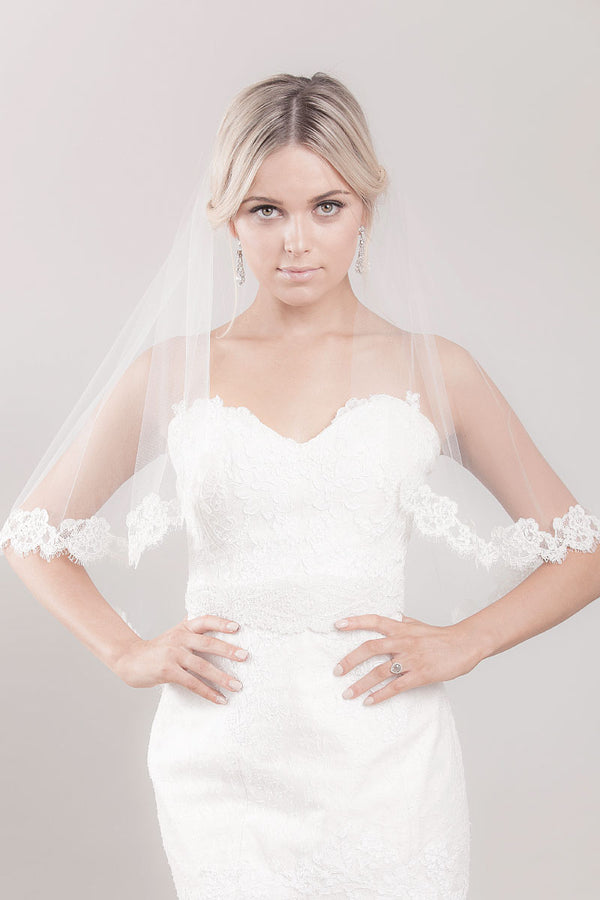Marlisa Fingertip Cascade Lace Veil- Sample Sale