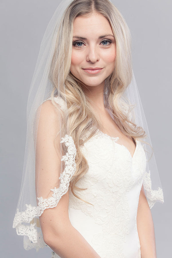 Elbow Length Lace Veil- Sample Sale