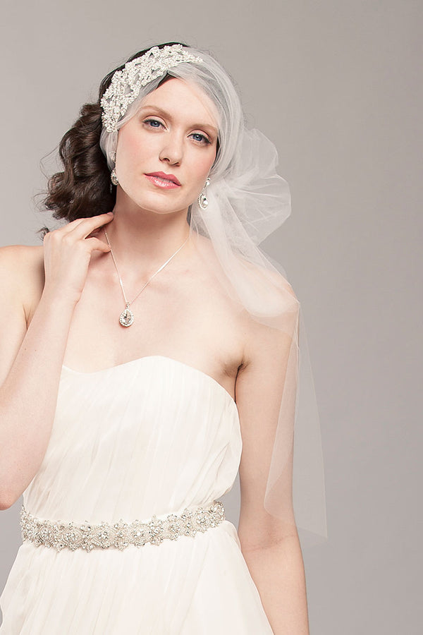 Tulle Headwrap Beaded Bridal Veil - Sample Sale