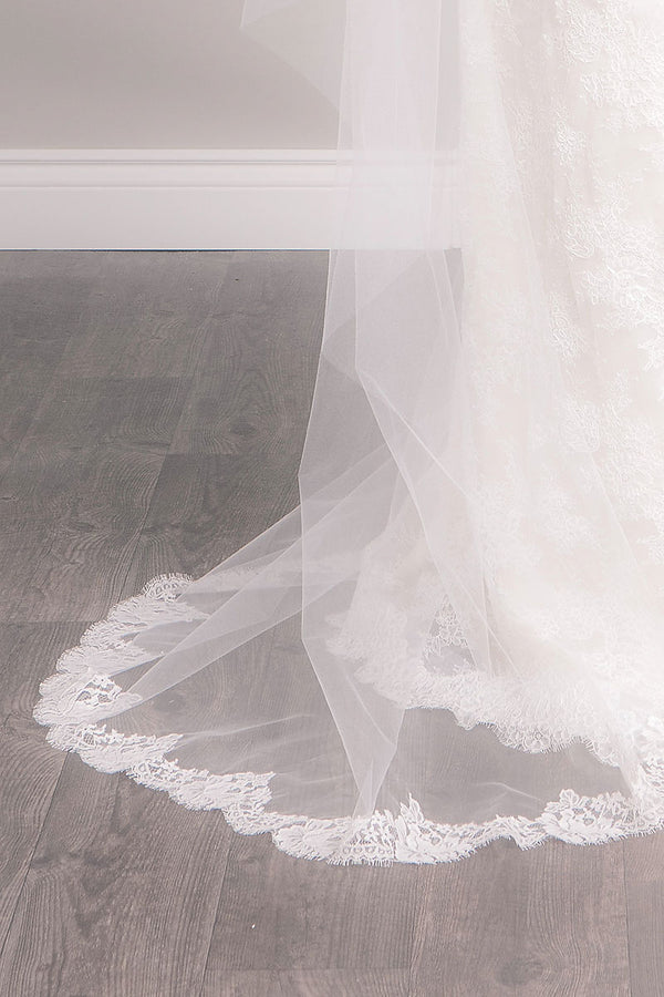 Blush Chapel Lace Wedding Veil - Sample Sale