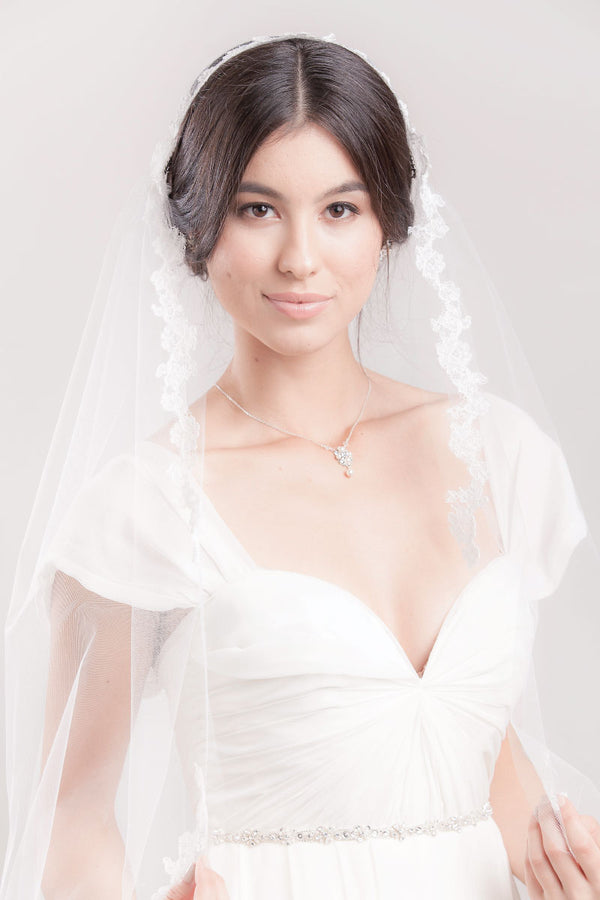 Alyssia Alencon Juliet Cap Veil- Sample Sale