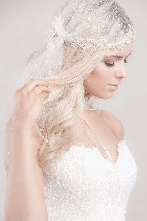 Embroidered Tulle Lace Juliet Cap Veil