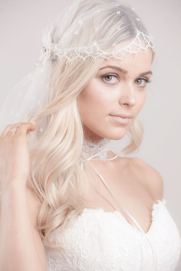 Embroidered Tulle Lace Blossom Cap