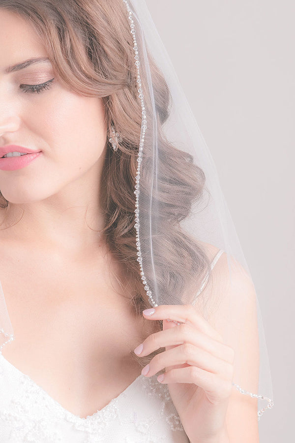 Crystal Edge Fingertip Veil - Sample Sale