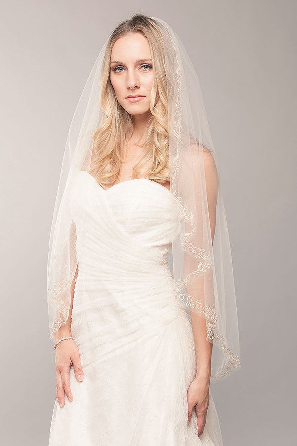 Gold Embroidered Fingertip Veil - Sample Sale