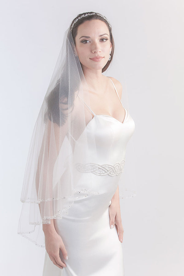 Beaded Fingertip Veil - Sample Sale