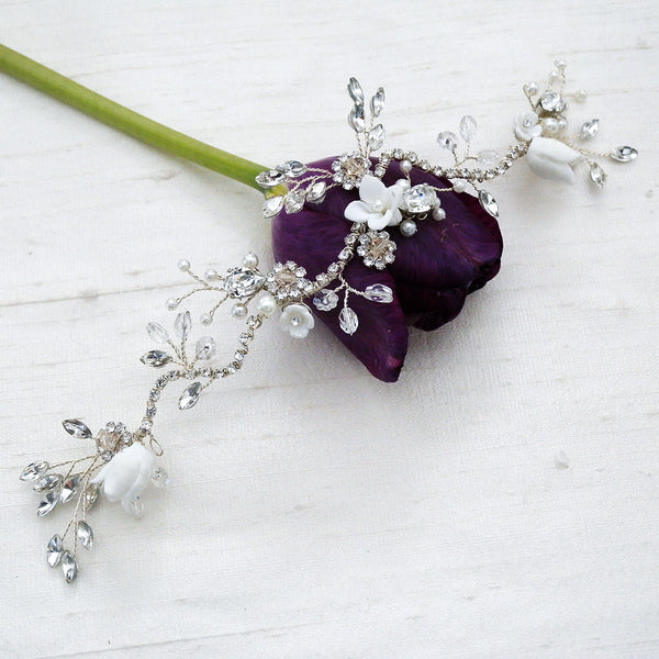 Porcelain hair vine for brides with jewels