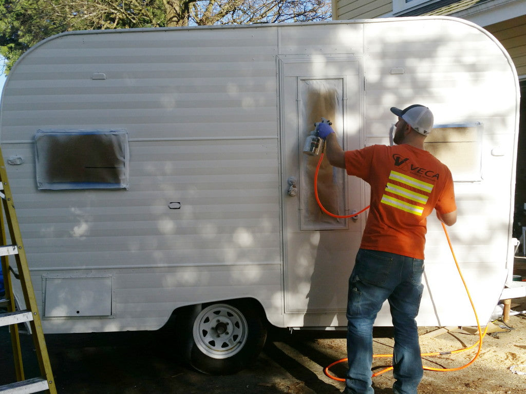 Painting the Aladdin camper trailer