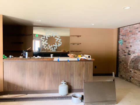 before image of the soda shop counter