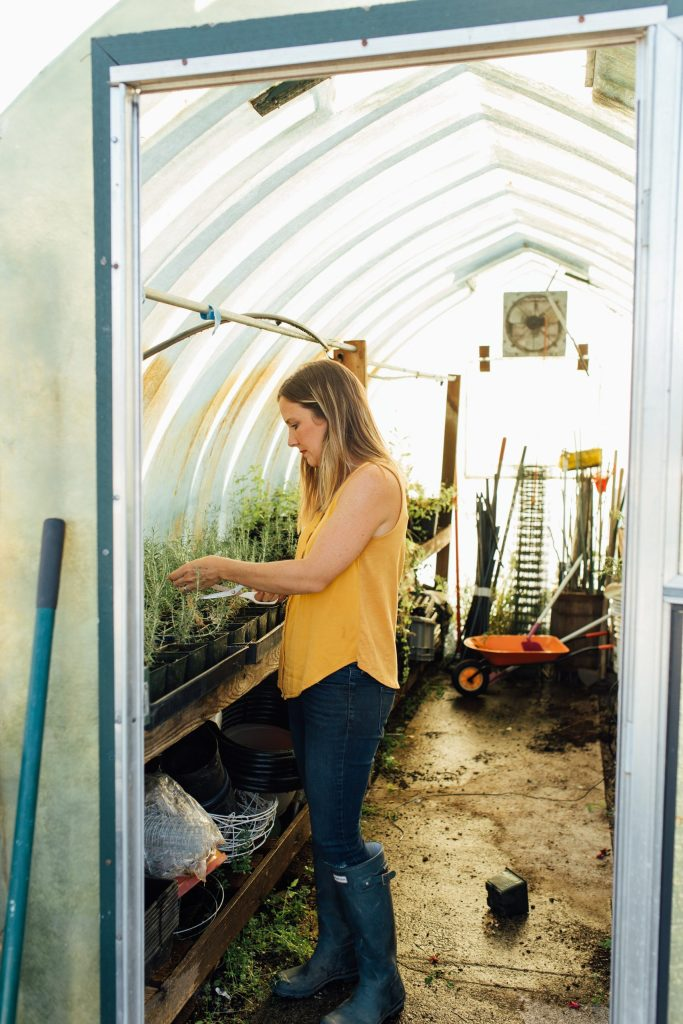 female farmer working in greenhouse