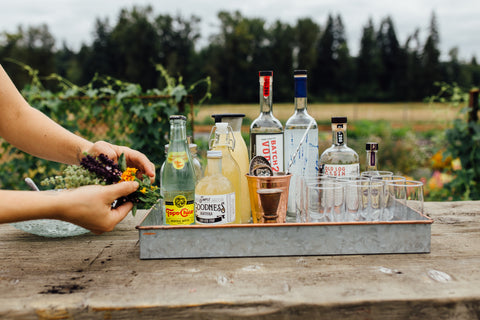 bar cart with simple syrup
