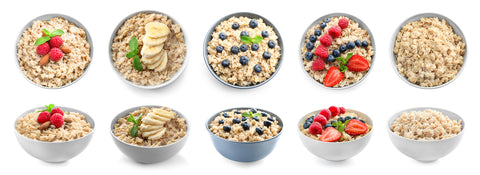variety of healthy bowls of protein packed oatmeal
