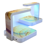 UV Sterilizer with Wireless Charging Portable Station Wood Design