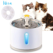 Automatic Pet Cat Water Fountain Drinker Bowl Feeder Dispenser 2.4L USB With Electric LED Light