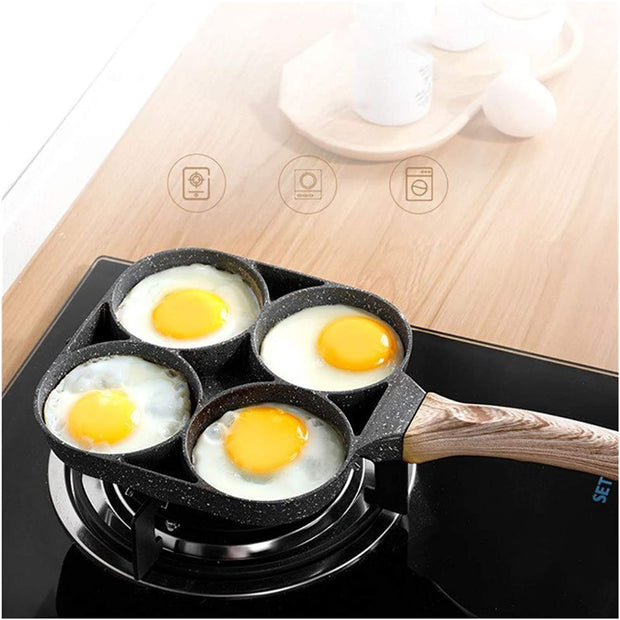 4 Hole Egg Omelet Non-stick Pan with Wooden Handle
