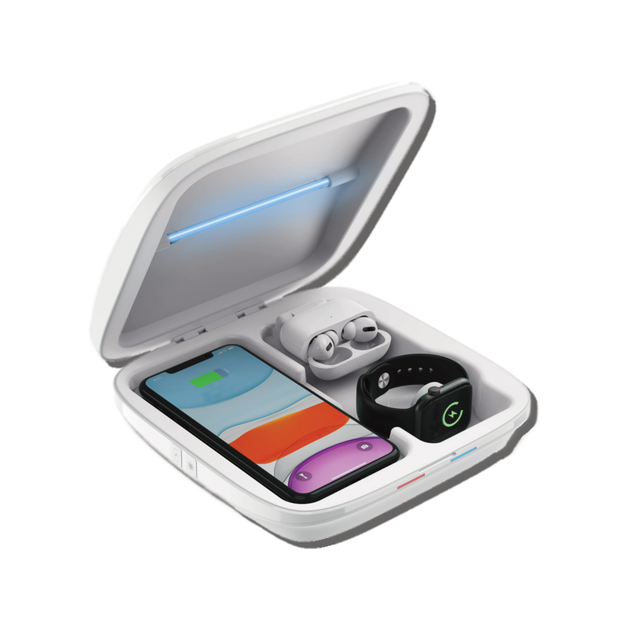 UV Sterilizer with Wireless Charging Case 4 in 1 Portable Station